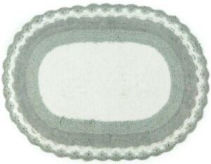 Crochet Edged Bath Mat 100% Cotton Patterned Reversible 50 x 80cm Vintage Design