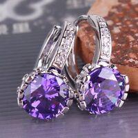 18K White gold filled leverback  Captivating Eternity purple sapphire earring