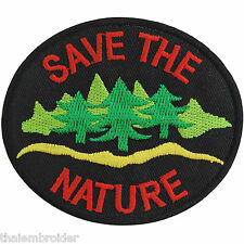 Save the Nature Black Energy Tree Water Love Earth World Iron on Patches #A005