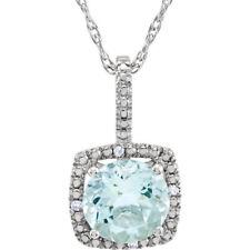 Aguamarina & Diamante 45.7cm Collar Plata de ley 925