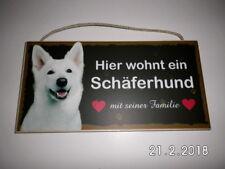 Türschild Schäferhund weiß, Tierschild Hund aus Holz, Holzschild, Herstellung D