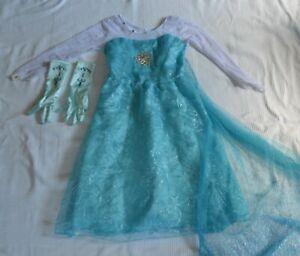 Kinder Verkleidung Kleid Prinzessin ElsaGr. 120 5-7 Jahre türkis + Handschuhe