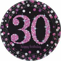 Rosa Celebración 30th Cumpleaños Prismático Platos de Papel 23cm - Pack 8