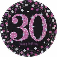 Pink Celebration 30th Birthday Prismatic Paper Plates 23cm - 8 pack