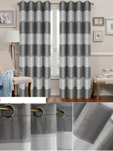 SALE!!! PAIR READY MADE voile CURTAINS STRIPED Grey White VOILE EYELET RING.