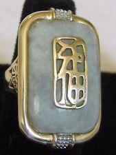 LARGE 14K YELLOW GOLD GREEN JADE JADEITE SANUK ring