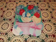 """Vtg Eureka Easter Diecut Cardboard Decoration Large 16"""" Chick Egg Flowers Tulip"""