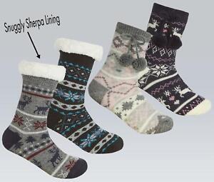 Kids Slipper Socks Soft Sherpa Fleece Lined Winter Cosy Knitted Fluffy Bed Sock