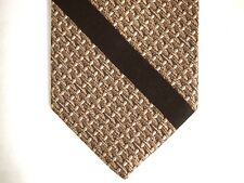 "Regal Designer Collection Mens Necktie Tie Brown Woven Diagonal Stripe 55"" Short"