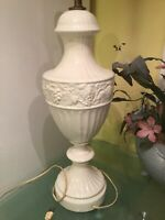 Vintage 1960s White Cream Ceramic Table Lamp Works Ornament Fruits MID CENTURY