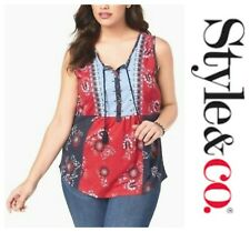 Style & Co. 6567 Plus Size 3x Womens Navy Printed Tank Top Embroidered