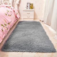 Fluffy Rugs Anti-Skid Shaggy Area Rug Dining Room Carpet Floor Mat  Bedroom