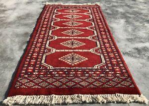 Hand knotted Vintage Pakistan Bokhara Jhaldar Wool Area Rug 3 x 2 Ft (1642 KBN)