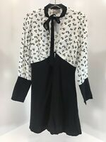 Asos Womens Long Sleeve Vneck Fit And Flare Dress Black/White US4/UK8 NWT %