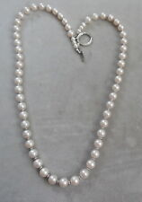 """BEAUTIFUL 8 MILLIMETER WHITE PEARL W, SILVER SPACERS 22"""" LONG"""