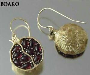 Vintage Garnet Gems 18K Yellow Gold Romantic Ear Stud Earrings For Women Jewelry