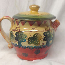 ITALICA ARS FIENZE ITALY TEAPOT 20 OZ GREEN RED YELLOW LEAVES