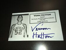 Vern Hatton Iniversity of Kentucky Signed Custom Made Index Card W/Our COA