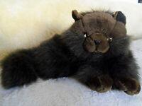 "Plush stuffed chocolate brown Persian long hair cat 14"""