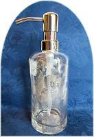 Envogue Bath Soap Lotion Pump Dispenser Clear Silver Embossed Floral Brand New