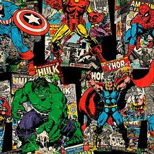 Marvel Vintage Character Toss on Black 100% cotton  fabric by the yard