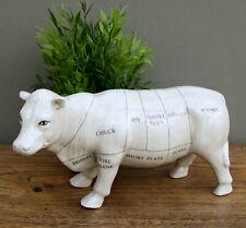 Cow Ornament Ceramic Butcher's Cuts Design Sculpture Home Decor Gift White 29cm