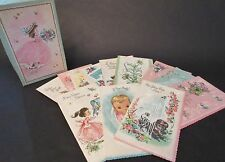 Vintage Mid Century Unused Greeting Cards Parchment Glitter 12 in Box!!
