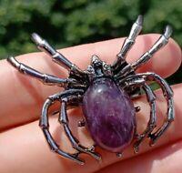 Amethyst Stone bead Energy Reiki Chakra spider Luck Amulet Pendant Brooch