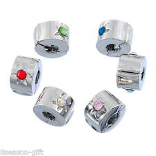 10PCs Mixed Silver Tone Rhinestone Flower Stopper Clip&Lock Fits Charm Bracelet