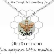 Silver Plated Disc Necklace Rose Gold Bumble Bee | 'Bee Different' + Gift Box