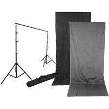 Impact Background Kit with 10x24' Charcoal/Smoke Gray Reversible Muslin Backdrop