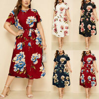 Ladies Women Casual O-Neck Short Sleeve Floral Print Waist Strap Dress Plus Size