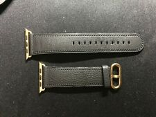  OEM Genuine Apple Watch Band Black Leather Classic Gold Buckle 42mm