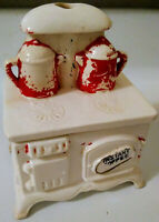 Vintage Ceramic Instant Coffee Holder Wood Burning Stove Shaped Container