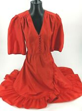 Vintage 1980's COCO OF CALIFORNIA Red Dress w/Short Sleeve Stunning sz 10 Ba