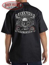 Lucky 7 Skull & Spades Mechanics Work Shirt Biker M-3XL Live to Ride Motorcycle