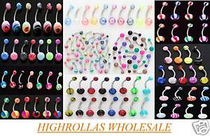 14g Belly Rings WHOLESALE Navel Body Jewelry Lot 50 All Different No Duplicates
