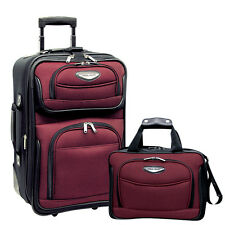 Travel Select Red Amsterdam 2pc Carry-on Expandable Rolling Luggage Tote Bag Set