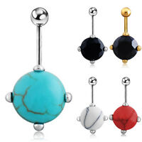JW_ JT_ Turquoise Silver Plated Belly Ring Barbell Navel Body Piercing Jewelry