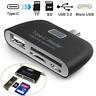 USB C 3.1 Type C to USB 3.0 OTG HUB Adapter & SD/TF Micro SD Memory Card Reader.