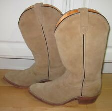 Double H Mens Tan Leather Suede Cowboy Western Boots 7.5 EE