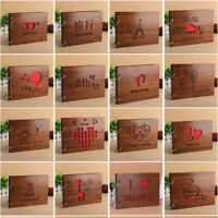 "DIY 8"" Wood Cover Photo Albums Memory Record Wedding Baby Family Album Scrapbook"