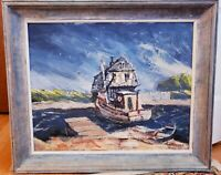 Ray Overpeck Pennsylvania Artist Boat Oil Painting  (Walter Baum School) Signed