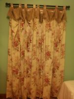 Waverly floral Norfolk Rose curtains drapes 1 pair