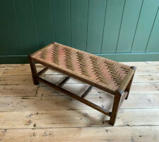 Vintage Woven Topped Wooden Footstool