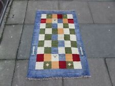Vintage Hand Made Traditional Oriental Blue green Wool Small Gabbe Rug 111x74cm