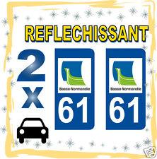 2 stickers REFLECHISSANT département 61 rétro-réfléchissant immatriculation AUTO