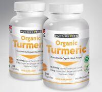 Turmeric Curcumin Organic 2 x 240 Capsules 10000mg High Strength Black Pepper UK