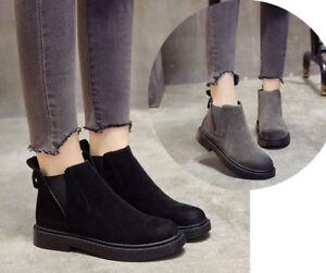 Women Winter Suede Boots Ankle Elastic Retro British Style Work Booty Flat Heel