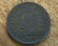 FREE SHIP! VF 1907 Indian Head Cent -120 Yr Old Penny Very Fine US Type Coin L2